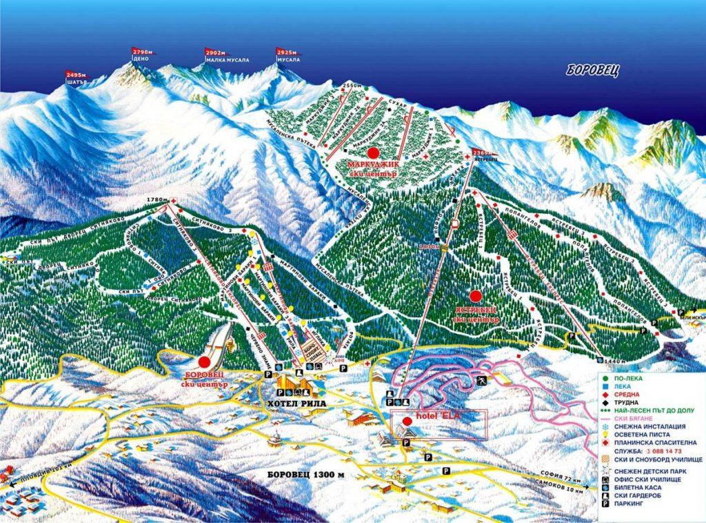 карта на писти и съоръжения Боровец Самоков